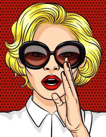 Color vector illustration in pop art style. The girl in the glasses Holding her hands in her mouth. The girl over the red dotted background Ilustração