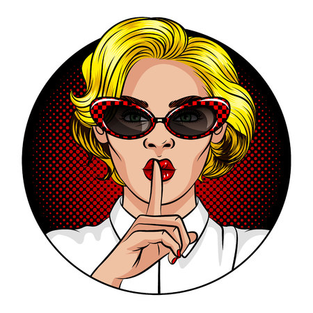 Color vector illustration in the style of comic pop art. A girl with blond hair and red lips. The girl holds the index finger at the mouth. The girl shows a sign of silence. Girl in vintage glasses Banque d'images - 125421315