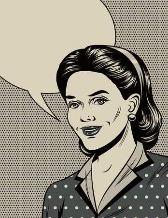 Black and white vector illustration in the style of the 40s. Beautiful girl smiling. Poster in vintage style. Fashionable housewife with empty place for text. Graphic design with comic elements. Иллюстрация