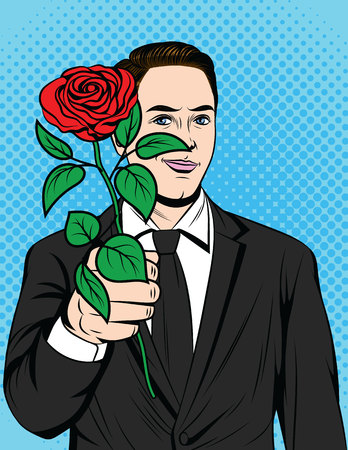 Color vector pop art comic style illustration of a man with a rose in his hand. Poster for Valentines Day. A man in love holding a red rose in his hand. Handsome man in a suit holds out a flower