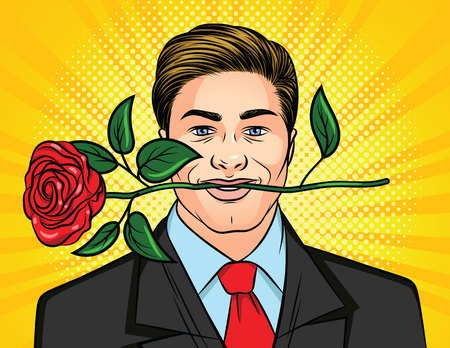 Color vector illustration for Valentines Day in the style of pop art. A man holds a rose in his teeth. Handsome man in a suit with a flower in his mouth. Poster for Womens day man with a gift.