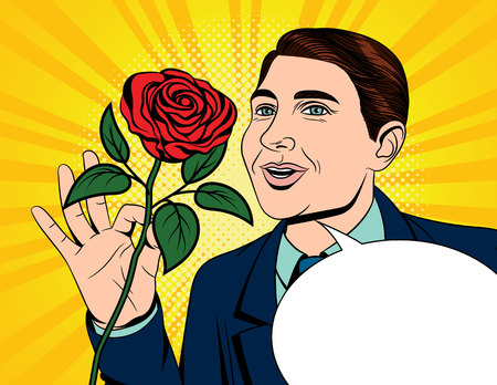Color vector pop art comic style illustration of a man holding a rose in his hand. Card for Valentines Day. A fall in love man with a red rose in his hand. Poster for International Womens day