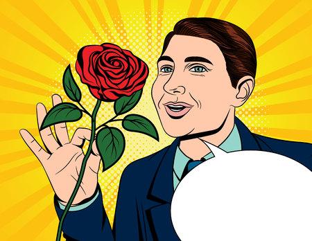 Colore vettore pop art stile fumetto illustrazione di un uomo che tiene una rosa in mano. Biglietto per San Valentino. Un uomo innamorato con una rosa rossa in mano. Poster per la giornata internazionale della donna Vettoriali