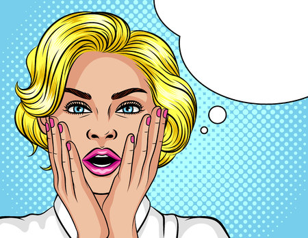 Color vector illustration in the style of pop art. The blonde girl opened her mouth in surprise. Beautiful woman in shock. The girl holds her hands near the face. Wow effect for girl Иллюстрация