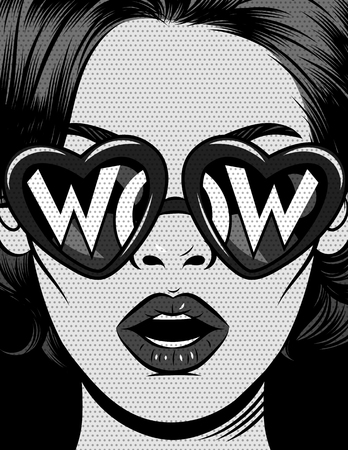 Black and white vector illustration in comic pop art style. The girl in glasses in the shape of a heart with an inscription wow. The girl opened her mouth in surprise. Vintage poster with emotional female face