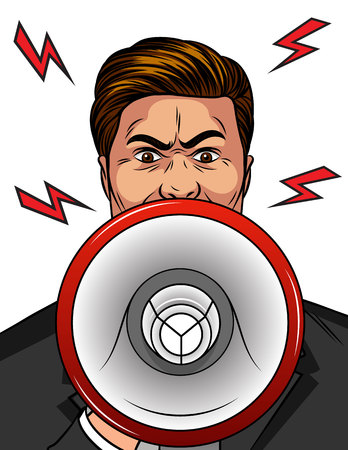 Color vector pop art comic style illustration of an angry man with a loudspeaker in his hand. An aggressive man shouts in a megaphone. Man upset. A man in a rage speaks loudly