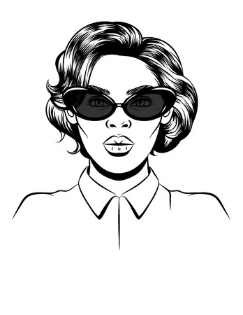 Black white vector illustration of a female portrait on white background. Glamorous woman in sunglasses. Female silhouette. Female face for a beauty salon or eyewear store