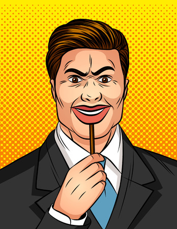 Color vector pop art comic style illustration of a man with a fake smile. A man hides his emotions under the mask. Angry man with a lying smile. Liar hiding real facial expression
