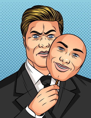 Color vector illustration in the style of comic pop art. A man holds a mask in his hands. Businessman hides his emotions. A man with a fake smile. Man liar with fake emotions Stok Fotoğraf - 125187659