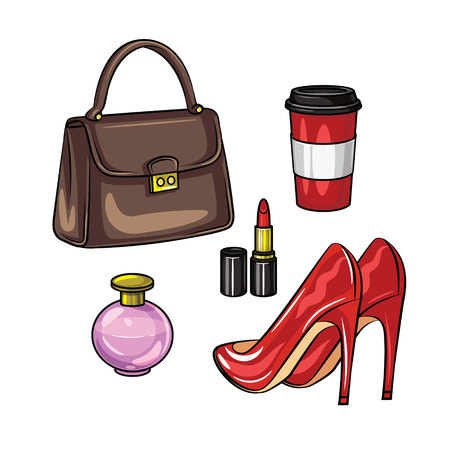 Color vector realistic illustration of womens wardrobe items. A set of womens accessories isolated from white background. Handbag, perfume, lipstick, a cup of coffee and red leather shoes
