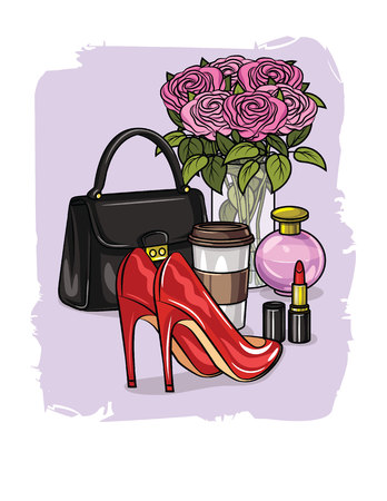Color vector realistic illustration of shoes, cosmetics, accessories for women. Set of womens wardrobe items. Design elements for women Ilustração