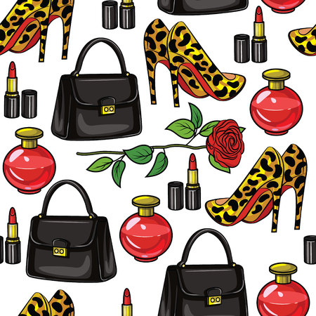 Colorful vector seamless pattern of female wardrobe items. Handbag, high-heeled shoes, perfume, flower, lipstick, isolated from white background. Design of objects for printing on textiles, flyers