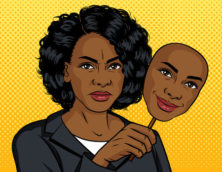 Color vector pop art style illustration. African American girl with a fake face. Dark skinned girl holds a mask with an artificial smile. Angry woman holds in her hand a mask with a happy face Illustration