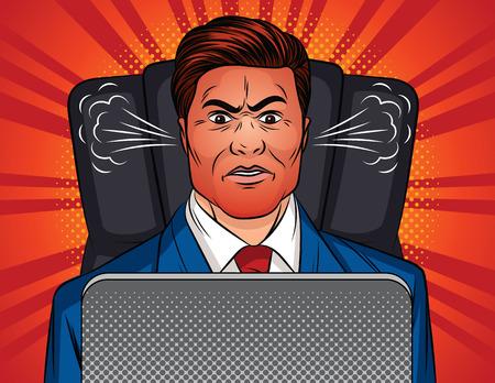Illustration de style pop art vectoriel couleur d'un homme en colère assis sur une chaise de bureau à une table. Le patron est assis devant un ordinateur portable. Un homme en costume de bureau avec un visage rouge et une vapeur des oreilles