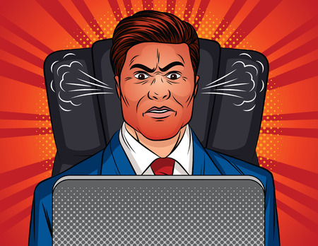Color vector pop art style illustration of an angry man sitting in an office chair at a table. Boss is sitting in front of a laptop. A man in a office suit with a red face and a steam from the ears Illustration