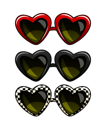 Color vector illustration set of vintage sunglasses. Glasses in a frame in the form of heart. Sunglasses of different colors, isolated from white background. Retro sunglasses for the beach