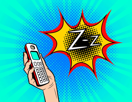 Color vector pop art comic style illustration of a phone ringing. Female hand with the handset of the old model. Sign of the ringing phone. Poster with vibrating phone in female hand