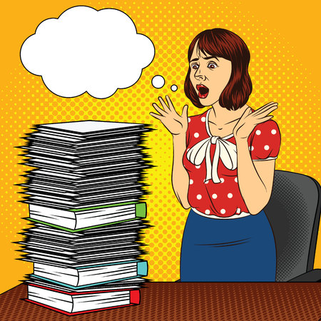Color vector pop art comic style illustration of a girl in the office. The girl at the desk. Busy woman doing office work. Worker with a lot of documents on the table. Womens stressful face