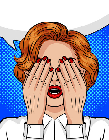 Color vector pop art style illustration of a girl with an open mouth covering her face with her hands. Emotions of fear, anger, pain, frustration. The girl's eyes closed in anticipation of a surprise.