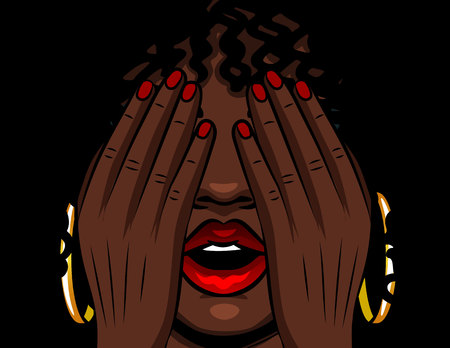 Color vector illustration african american girl covers her face with her hands. The girl experiences emotions of stress, fear, pain, fatigue. Girl with red open lips and eyes closed 스톡 콘텐츠 - 124424603