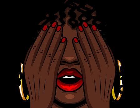 Ilustración de vector de color chica afroamericana se cubre la cara con las manos. La niña experimenta emociones de estrés, miedo, dolor, fatiga. Chica con labios rojos abiertos y ojos cerrados