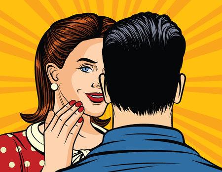 Illustration vectorielle couleur d'une fille de style pop art chuchotant un secret à l'oreille d'un homme. La fille raconte l'information en toute confiance. Un homme et une femme discutent. La fille tient la main à la bouche