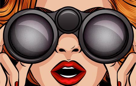 Ilustración de estilo de arte pop de vector de color de una niña mirando a través de binoculares. Rostro sorprendido femenino de cerca. Una mujer sostiene binoculares en sus manos. Diseño para descuentos, rebajas para mujeres.
