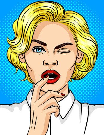 Ilustración de vector de color de guiños de niña de estilo pop-art. Hermosa rubia con labios rojos coquetea. Chica con un dedo en la boca abierta. Chica joven atractiva en un estado de ánimo juguetón