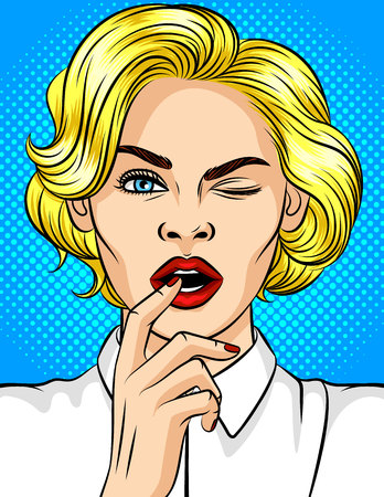 Color vector illustration of pop-art style girl winks. Beautiful blonde with red lips flirts. Girl with a finger at an open mouth. Young attractive girl in a playful mood Illustration