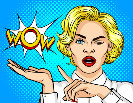 Color vector illustration pop art girl winks and point the finger to the side. Wow effect. The girl is surprised. Shocked girl points to the bubble with the word wow. Promotional poster for discounts