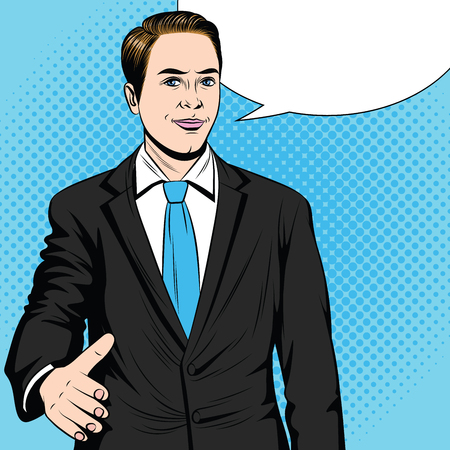 Color vector pop art style illustration of a man stretching his hand for a handshake. Businessman holds out his hand in agreement. An employee makes a deal. Friendly male handshake.