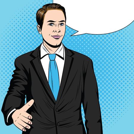 Kleur pop-art stijl vectorillustratie van een man die zijn hand uitrekt voor een handdruk. Zakenman steekt zijn hand in overeenkomst uit. Een werknemer sluit een deal. Vriendelijke mannelijke handdruk.