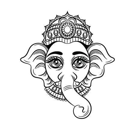 Illustrazione vettoriale in bianco e nero di un dio indiano con una testa di elefante. divinità indiana Ganesh. Schizzo per la testa del tatuaggio di un elefante. Icona, simbolo per studio di yoga isolato su sfondo bianco Vettoriali