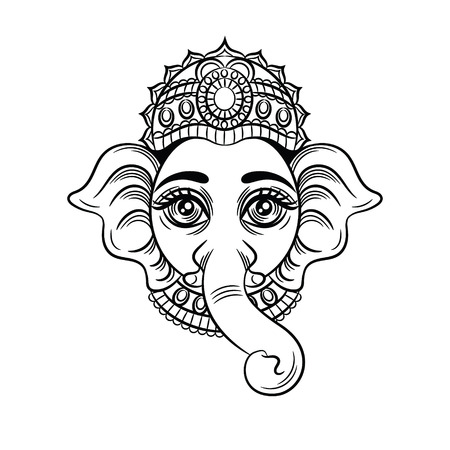 Vector black white illustration of an indian god with an elephant head. Indian deity Ganesh. Sketch for tattoo head of an elephant. Icon, symbol for yoga studio isolated on white background