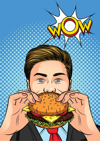 Color vector illustration of a pop art man eating a burger. Office worker bites a hamburger. Businessman enjoying lunch. A man with a cheeseburger in his hand. Advertising poster with Wow inscription