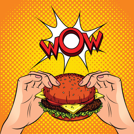 Color vector illustration in the style of comic pop art. Male hands hold a juicy burger over a halftone background. Advertising poster with  words wow. Concept design for fast food restaurants Ilustração