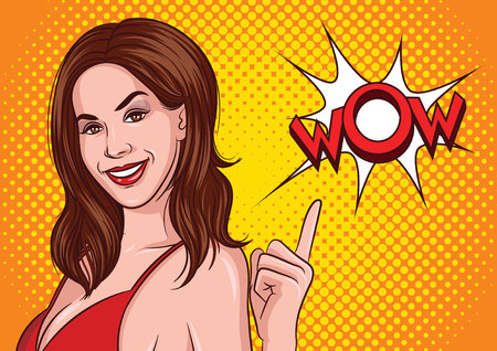 Color vector illustration of a pop art style of a beautiful young woman, smiling and pointing up. Advertising poster Sexy brunette in red dress points to wow sign. Portrait of an attractive lady Иллюстрация