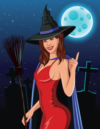 Color vector in realistic style Halloween illustration. Sexy witch with broom smiling and pointing finger up. Beautiful young witch in a hat and cloak against the backdrop of a cemetery and moonlight