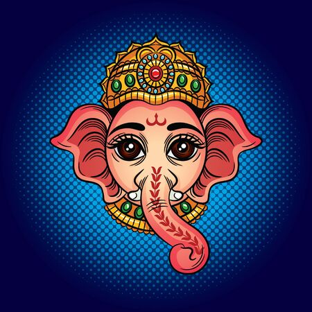 Color vector illustration of an indian godhead with an elephant head. Indian deity Ganesh. Drawing for tattoo with an elephants head. Design element for postcard, logo, banner.