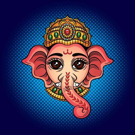 Color vector illustration of an indian godhead with an elephant head. Indian deity Ganesh. Drawing for tattoo with an elephant's head. Design element for postcard, logo, banner.