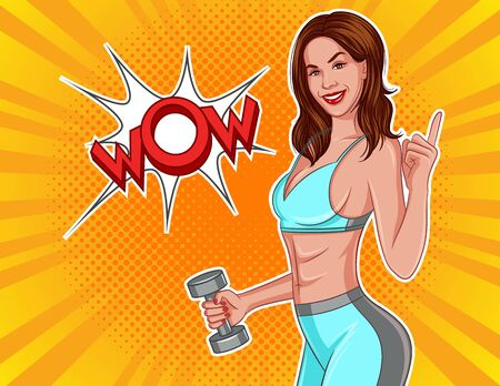 Color vector illustration in comic pop art style. Athletic girl with dumbbells in their hands. Slender girl in sportswear points finger at the inscription wow. Gym Poster Design