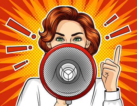 Color vector pop art comic style illustration of a girl with a loudspeaker. Promotional poster with exclamation marks and emotional female face. Fight and protest women.