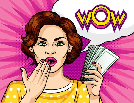 Color vector in comic style pop art illustration of a girl with a wad of money in her hand. Beautiful woman in shock. Brunette with green eyes and an inscription wow on a speech bubble