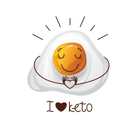 Color vector illustration with the inscription I love keto. Funny egg character. Cute face, cartoon character emotions. Design for keto diet. Logo for keto nutrition. Иллюстрация