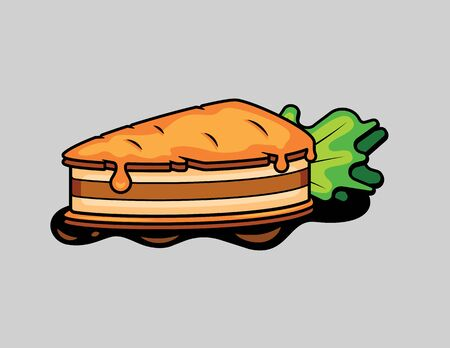 Color vector illustration of carrot cake isolated from the background. Logo design for bakery. A tasty slice of carrot cake with liquid drops of orange cream. Иллюстрация