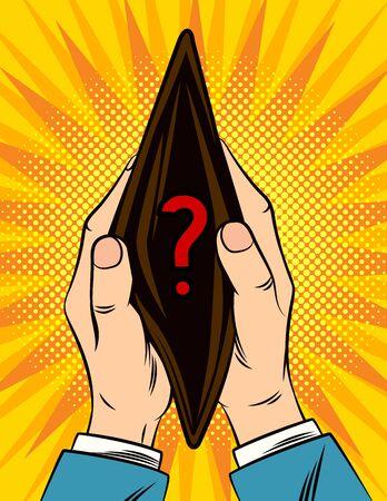 Farbvektorillustration im Stil der Comic-Pop-Art. Männliche Hände halten eine leere Brieftasche. Ein Plakat des Bankrotts, des Geldmangels, der Geldausgabe. Einkaufen, Verkauf, spezielles Finanzangebot