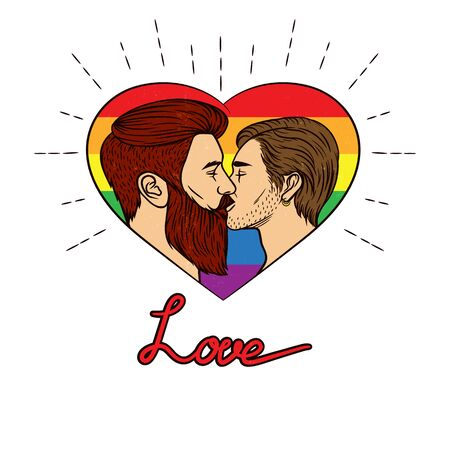 Vector illustration with rainbow colors. Vector banner of a homosexual couple is kissing. Two young men kissing each other inside the heart shape frame with typing Stock Illustratie