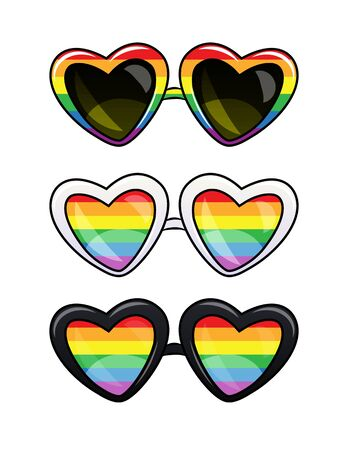 Color vector lgbt poster of a glasses in plastic frame. Set of heart shape sunglasses with rainbow lenses. Old fashion glasses in the rainbow colors isolated from the white background Stock Illustratie