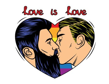 Colorful vector  print design with kissing homosexual couple. A man is kissing his partner inside a frame in the shape of a heart. Rainbow background with text love is love Illustration