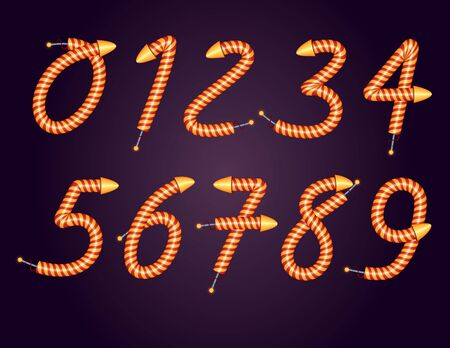 Color vector set of numbers in the style of salute in isolation from the background. Celebratory fireworks in the style of numbers. A set of numbers from 0 to 9 for creating festive banner designs.